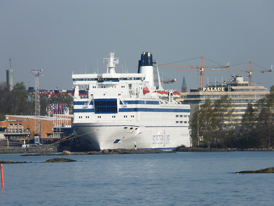 The St Peter Line ferry docks in Helsinki's South Harbour, right downtown.