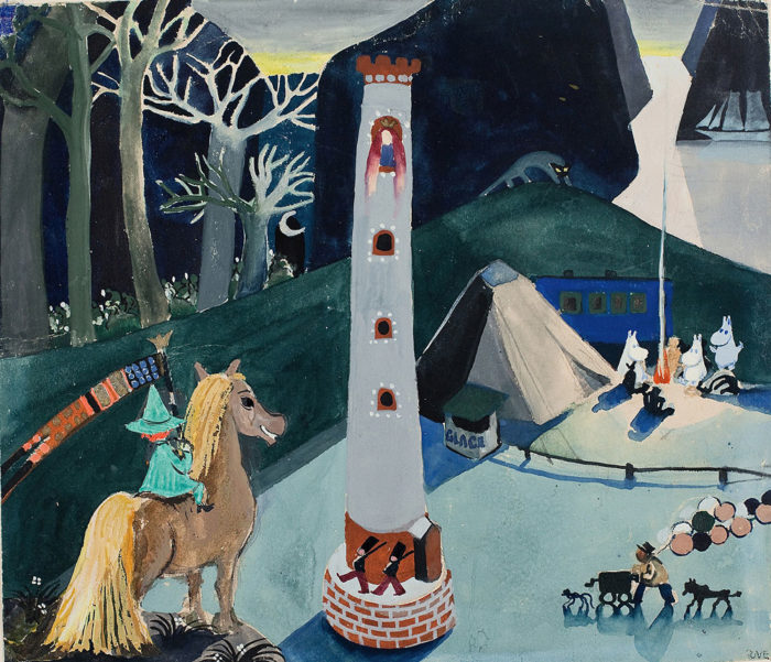 This detail from an early, undated Moomin illustration by Tove Jansson shows Snufkin on a horse (left) and the Moomin family around a campfire (at right, beside tent). Click picture to see an uncropped version.