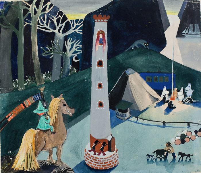 Dieses Detail aus einer frühen, undatierten Mumin-Illustration von Tove Jansson zeigt Schnupferich auf einem Pferd (links) und die Mumin-Familie um ein Lagerfeuer (rechts neben dem Zelt). Klicken Sie auf dass Bild für eine volle Darstellung.