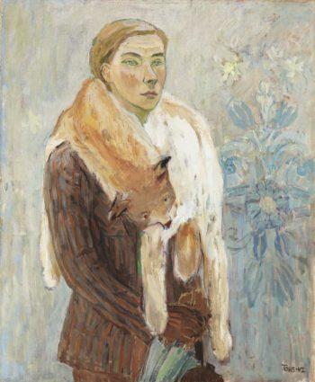 Деталь автопортрета, «Боа из рыси» (1942).