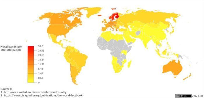 """重金属热点分布图:芬兰在这张地图上是最红的地点,平均每十万人口有重金属组合53.2个。 根据定义,重金属粉丝偏好的就应该是非主流音乐。他们崇尚勇于与流行乐的循规蹈矩分庭抗礼的那种""""材料""""。或许这就是芬兰重金属受到海外粉丝追捧的主要原因。"""