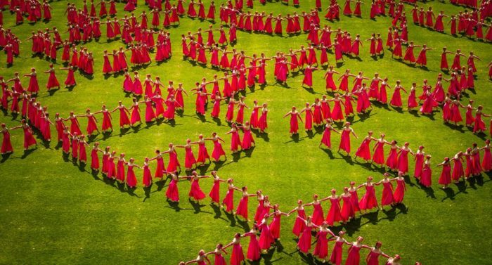 Gymnaestrada performers impress fans with geometric patterns that make good use of stadium venues.