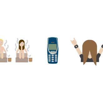 蒸桑拿的人、坚不可摧的诺基亚3310,以及甩头党,这三者荣幸地成为芬兰国家表情符号系列中率先曝光的三个符号。