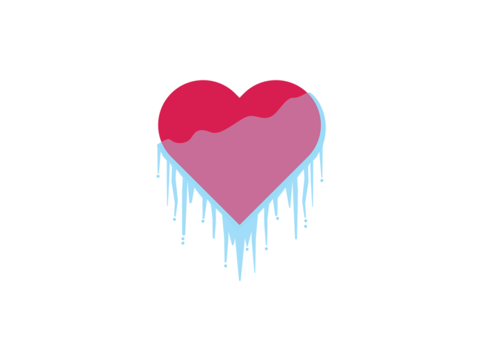 A red heart shape has icicles hanging from it.