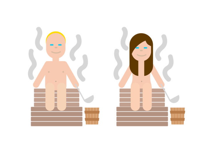 A man and a woman sit naked on sauna benches with steam rising around them and wooden buckets beside them, each person holding a ladle.