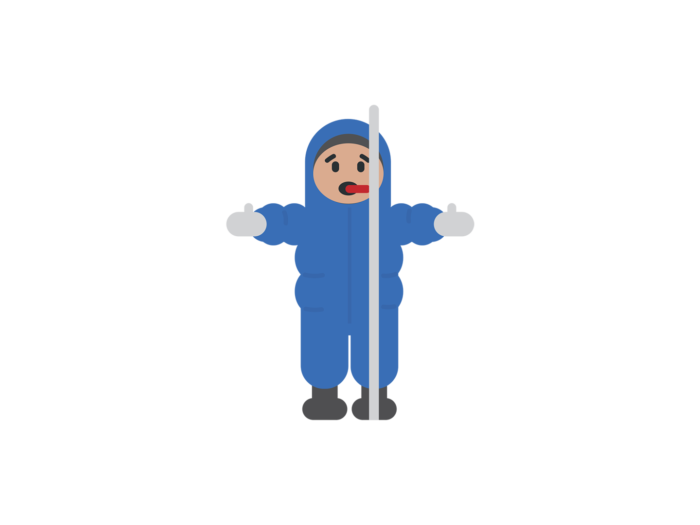 A small child in a blue snowsuit has touched an icy cold metal pole with their tongue and become frozen in that position.
