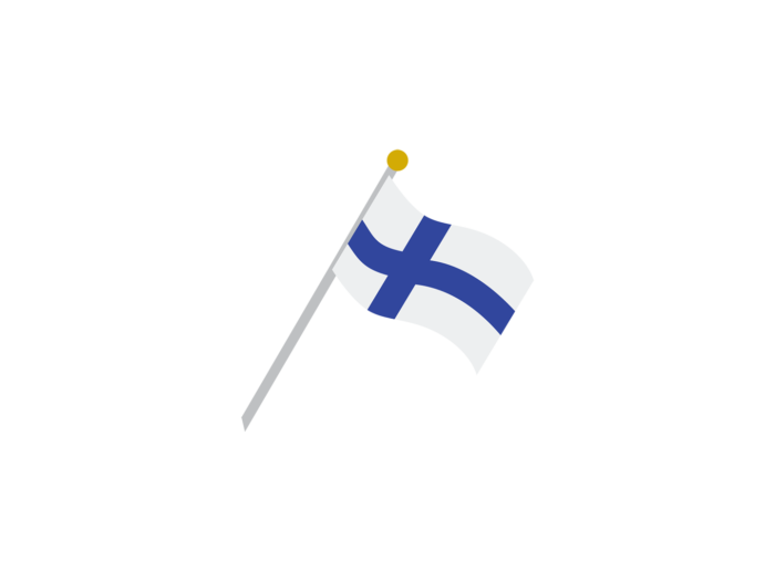 A waving Finnish flag; the flag has a dark blue cross on a white background.