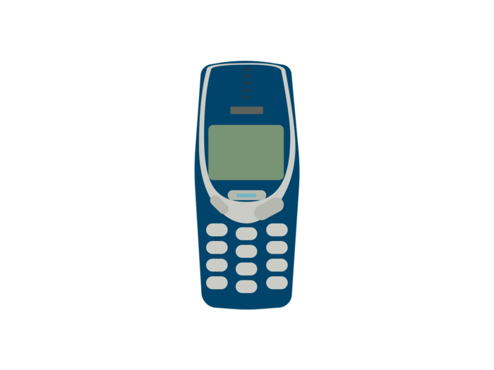 A Nokia 3310 mobile phone; an old-fashioned mobile phone, dark blue with white buttons.