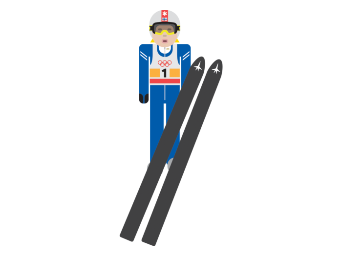 A cartoon version of ski jumper Matti Nykänen flies through the air on his skis, wearing the uniform and helmet of a Finnish Olympic athlete.