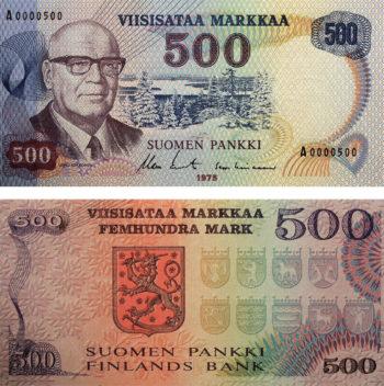 С 1955 по 1986 год в Финляндии выпускали банкноты с портретами выдающихся финских спортсменов, государственных и культурных деятелей. На фото: банкнота в 500 марок 1975 года с изображением восьмого президента Финляндии Урхо Калевы Кекконена.