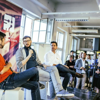 Zalando's Head of Tech Expansion, Marc Lamik, speaks at the opening of Zalando's Helsinki Tech Office.