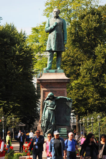 Runeberg's statue stands in Esplanade in Helsinki. On the pedestal of the statue is the Maiden of Finland holding a table with the words of the Finnish national anthem 'Maamme' written by Runeberg.