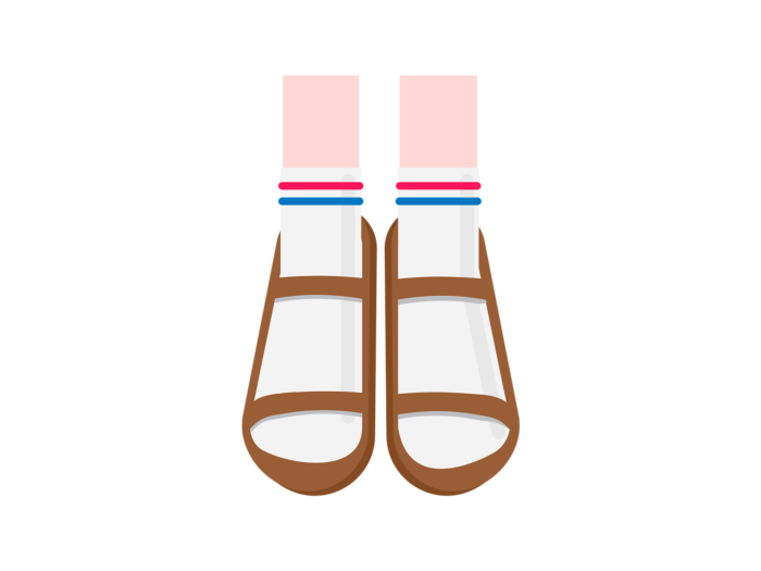 A pair of feet wearing white tennis socks and brown sandals.