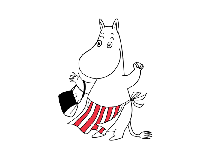 A white creature who looks something like a hippo stands on two legs, wearing an apron with red and white stripes and holding a black handbag.