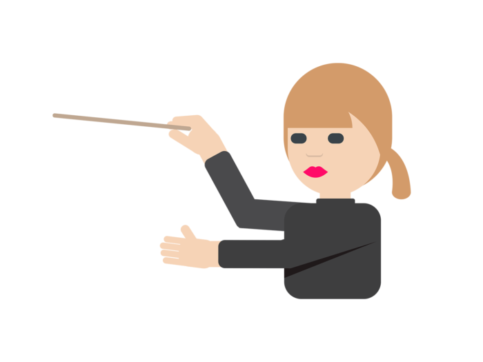 A cartoon version of orchestral conductor Susanna Mälkki dressed in a black long-sleeve shirt points forward with a conductor's baton.
