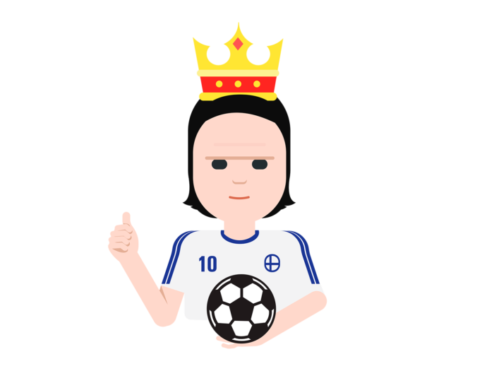 A cartoon version of footballer Jari Litmanen wears a crown and holds a football in one hand while giving the thumbs-up sign with the other hand.