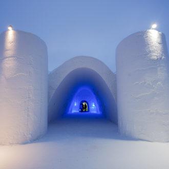 Pure white snow walls surround the gigantic Snow Castle.