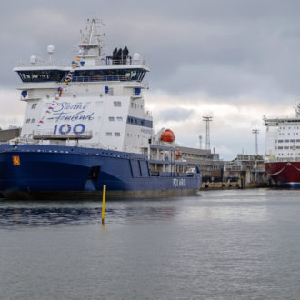 The Finland 100 logo is visible on Polaris, a new, ecofriendly icebreaker, in recognition of the 100th anniversary of Finland's independence, in 2017.