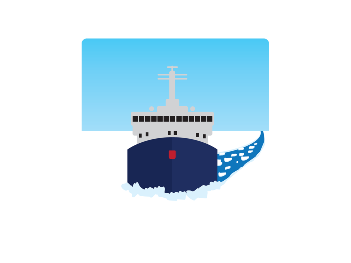 An icebreaker ship makes its way through sea ice, with a cleared lane of water behind the ship.