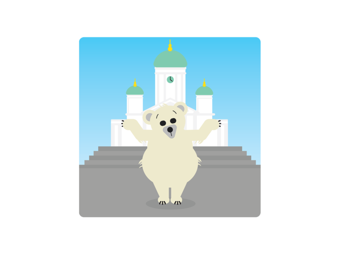 A confused-looking  polar bear stands on its hind legs and shrugs, with Helsinki Cathedral in the background.