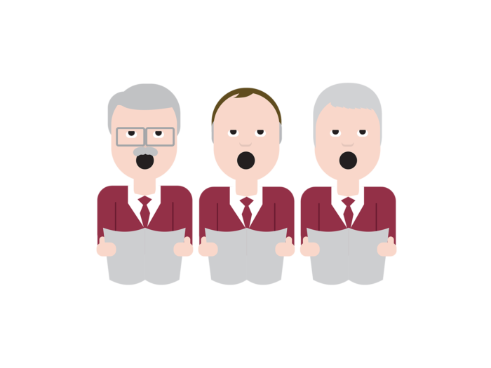 Three serious-looking elderly men wearing burgundy suit jackets, holding sheet music and singing with their mouths wide open.