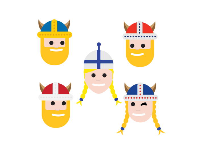 Five smiling people's faces: The one in the middle is wearing a beanie in Finnish blue and white, and the others are wearing Viking helmets with horns. The helmets are decorated in the colours of the flags of the other Nordic countries: Sweden, Denmark, Norway and Iceland.