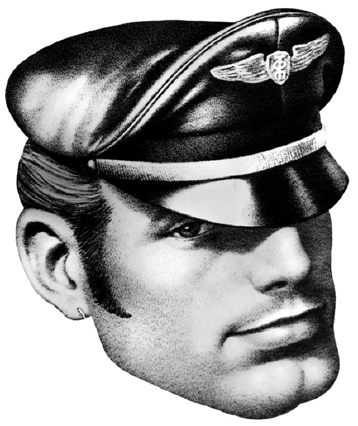 A black-and-white drawing of a man in an army-style leather cap.