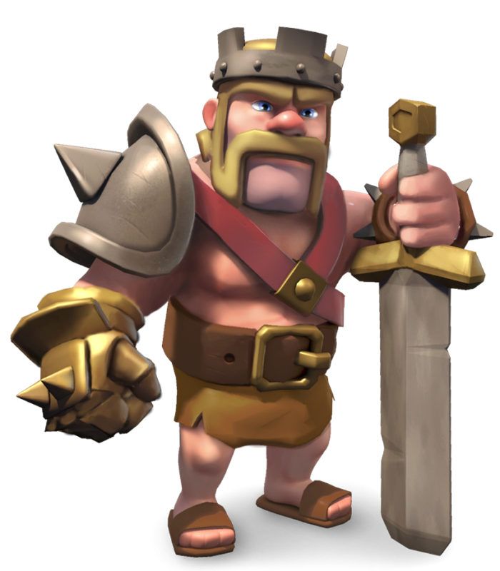 A barbarian king with a crown, heavy armour and a huge sword.