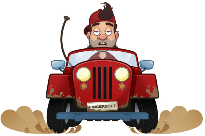 A tired-looking man in a red cap driving a red Jeep.