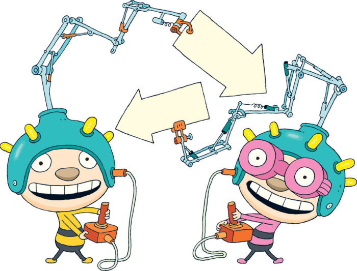 Two cartoon boys, one dressed in yellow and one in pink with round pink-rimmed glasses.