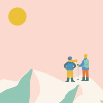 An illustration of two people standing on a mountain peak.