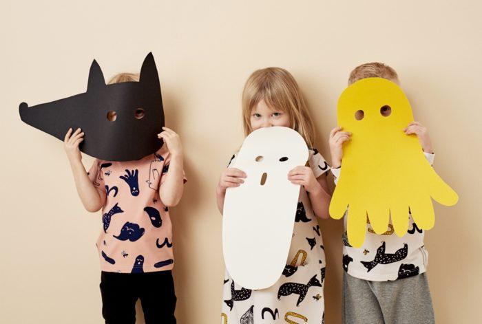 تظهر أشباح وحيوانات في هذه الأنماط من قبل Papu، وهي علامة ملابس أطفال فنلندية تأسست على مبادئ أخلاقية.
