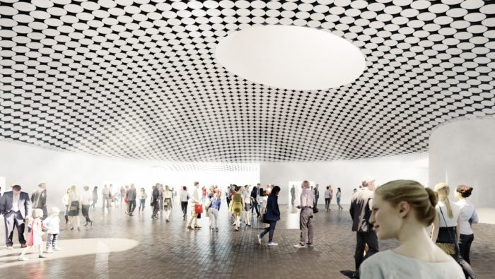 Conception art of a large exhibition hall with a black-and-white-tiled curved ceiling.