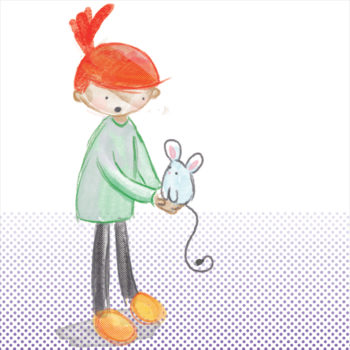 An illustration of an awed-looking red-haired person holding a mouse.