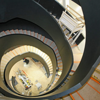 A spiral staircase in Oodi library.