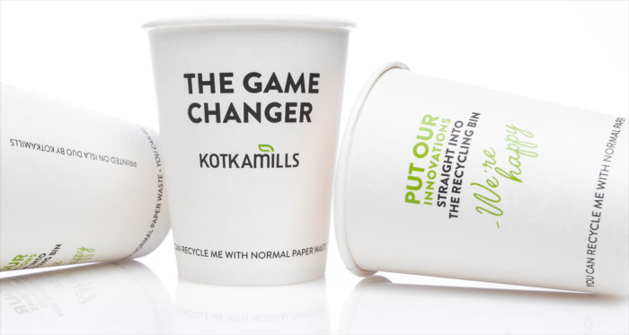 Three disposable coffee cups with the text 'The game changer, Kotkamills'.