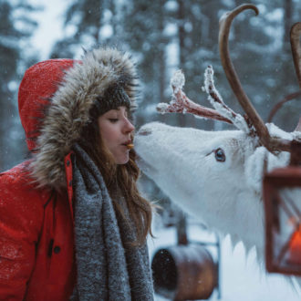 A girl in a red winter coat feeding a cookie to a white reindeer from her mouth.