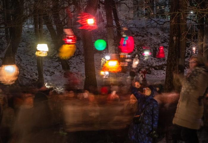 Children admiring lanterns hanging from tree branches.