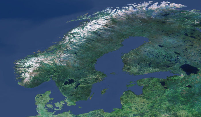 A satellite image of Finland, Sweden, Norway and Denmark.