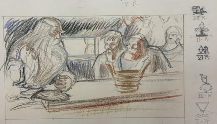 A sketch of an old bearded man and a few other men sitting at a table.