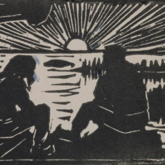 A linocut showing two people sitting in a log cabin with a lakeland landscape and setting sun in the background.
