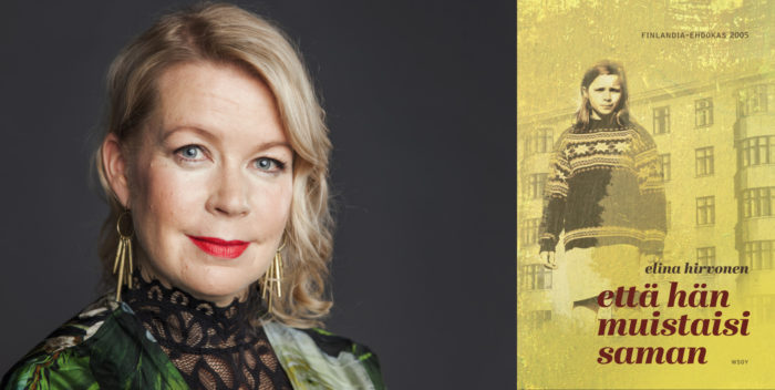 Portrait of author Elina Hirvonen and the cover of her book When I Forgot.