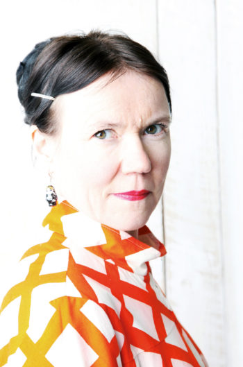 Portrait of a serious-looking author Rosa Liksom.