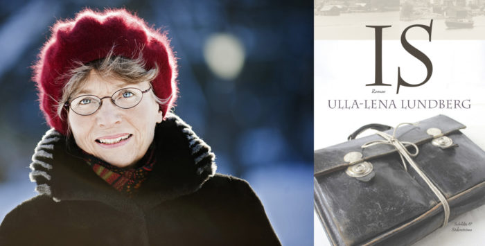 Portrait of Ulla-Lena Lundberg pictured outside at winter and the cover of her book Ice.