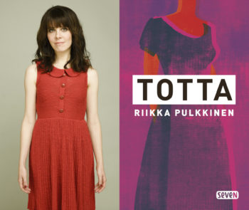 Portrait of author Riikka Pulkkinen wearing a red dress and the cover of her book True.