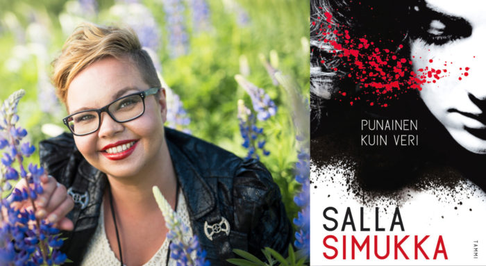 Portrait of a smiling author Salla Simukka pictured amidst flowers and the cover of her book As Red as Blood.