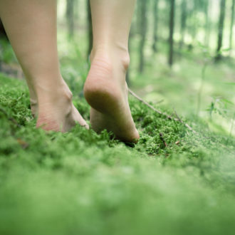 A pair of bare feet walking in the forest.