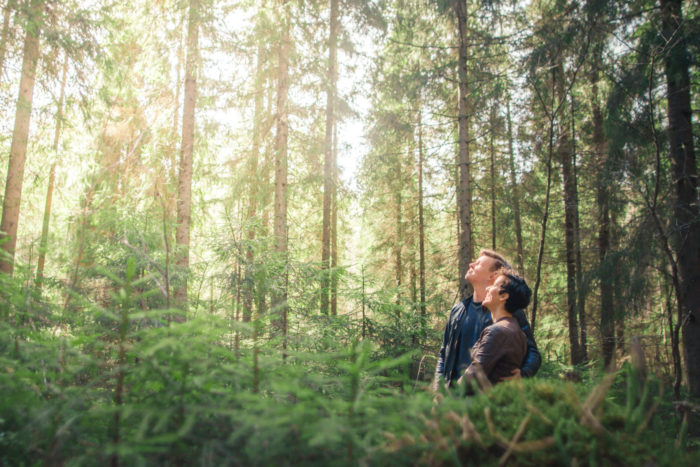 A couple standing in a sunny forest, gazing upwards.