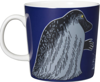 A mug with the image of Groke from Moomin.