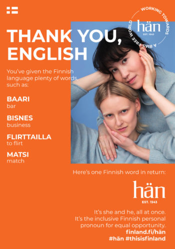 A poster with a photo of two smiling women and the text 'Thank you English. You've given the Finnish language plenty of words such as: bar, business, to flirt and match.